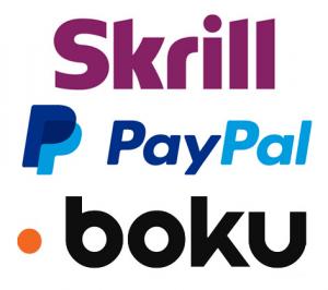 Boku, PayPal, Skrill Logos