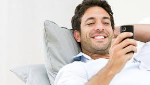 man mobile phone happy