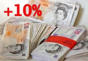 money-british-pounds-plus-10-per-cent
