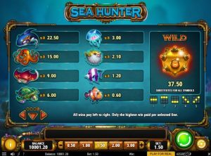 Sea Hunter Slot Paytable