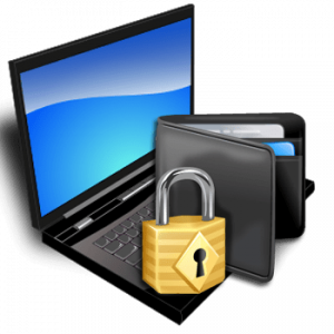Padlock And Wallet On Laptop