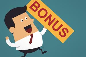 Animated Man With Hold Sign Saying Bonus