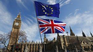 Union Jack And European Union Flag Outside Big Ben
